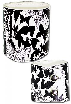 Bleach Leather Wristband - Butterfly Print