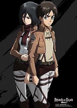 Attack on Titan Wall Scroll - Eren & Mikasa Black