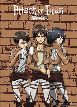Attack on Titan Wall Scroll - Levi, Eren & Mikasa Brick
