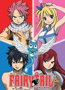 Fairy Tail Fabric Poster - Natsu, Lucy, Gray, Erza & Happy 4 Panel