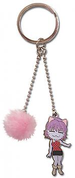 Black Cat Key Chain - Rinslet and Pink Fuzzy Ball