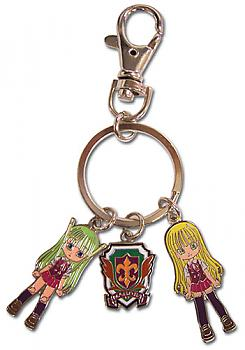 Negima Key Chain - Metal Eva, School Badge and Chacha Moru
