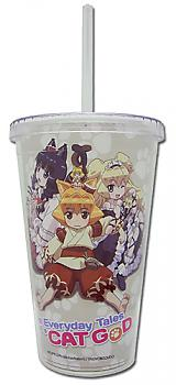 Everyday Tales of a Cat God Tumbler Mug with Lid - Group