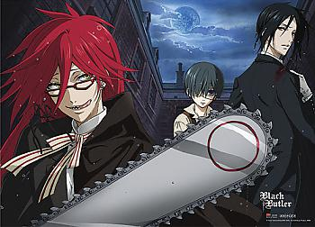 Black Butler Fabric Poster - Grell Chainsaw Scythe [LONG]