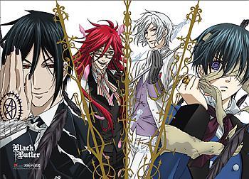 Black Butler Fabric Poster - Sebastian, Grell, Ash & Ciel [LONG]