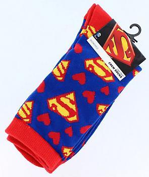 Superman Socks - Emblems/Hearts Junior Crew