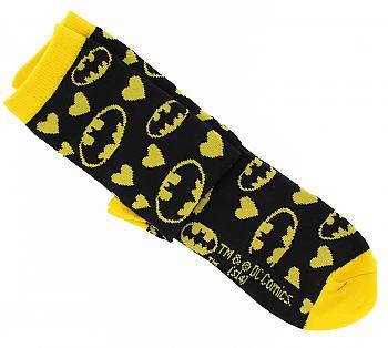 Batman Socks - Yellow Emblems/Hearts Junior Crew