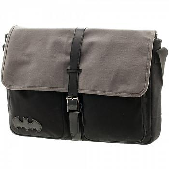 Batman Messenger Bag - Black Canvas with Printed Lining