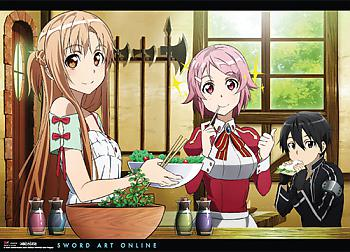 Sword Art Online Wall Scroll - Asuna, Lizbeth, Kirito Eating [LONG]