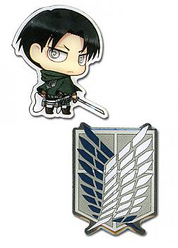 Attack on Titan Pins - SD Levi & Survey Corps (Set of 2)