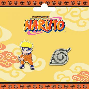 Naruto Pins - Naruto and Konoha Logo (Set of 2)