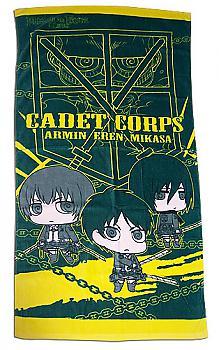 Attack on Titan Towel - SD Armin, Eren & Mikasa