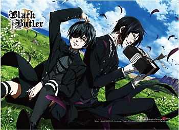 Black Butler 2 High End Wall Scroll - Sebastian & Ciel Feathers [LONG]