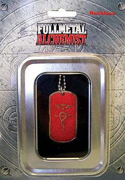 FullMetal Alchemist Necklace - Cross of Flamel Red Dog Tag