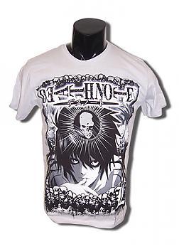 Death Note T-Shirt - L w/ Skull GRAY (S)