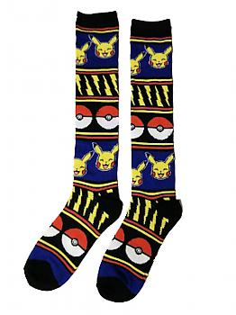 Pokemon Knee Socks - Pikachu, Pokeball & Lightning Knit