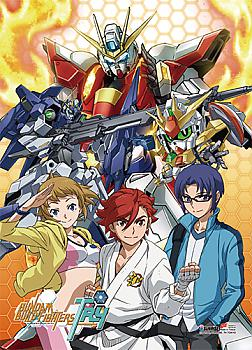 Gundam Build Fightes Try Fabric Poster - Group
