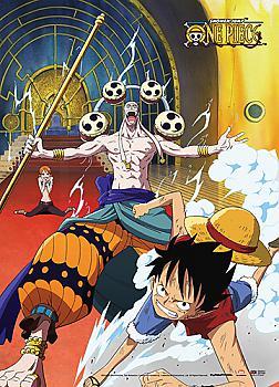 One Piece Wall Scroll - Luffy & Nami VS Enel