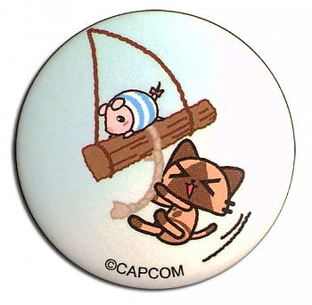 Airou From The Monster Hunter 1.25'' Button - Airou & Poogie on a Swing