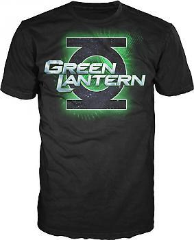 Green Lantern Movie T-Shirt - Movie Logo (Black) (L)