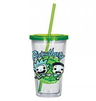 Rick & Morty Tumbler Mug with Lid - Rick & Morty Type Acrylic