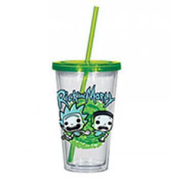 Rick & Morty Tumbler Mug with Lid - Rick & Morty Type Acrylic