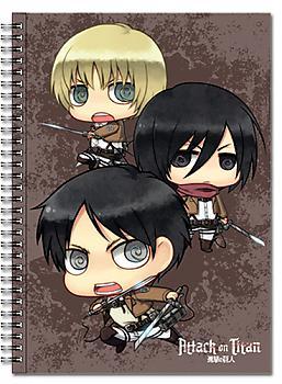 Attack on Titan Spiral Notebook - Chibi Eren, Mikasa, Armin