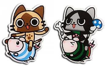 Monster Hunter Pins - Airou & Merarou on Poogie (Set of 2)