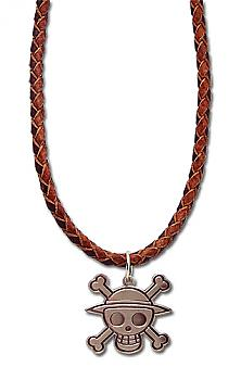 One Piece Necklace - Pirate Skull Leather Band