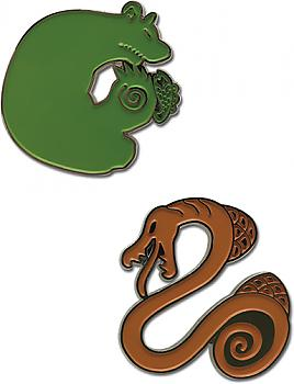 Seven Deadly Sins Pins - Grizzly's Sin of Sloth & Serpent's Sin of Envy (Set of 2)
